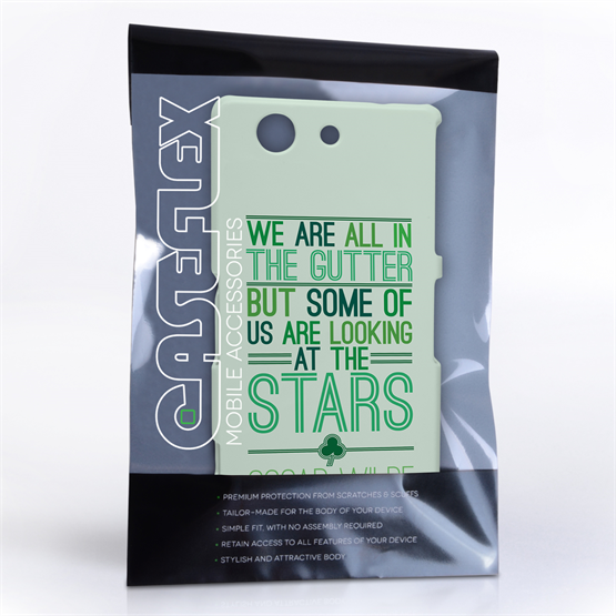 Caseflex Sony Xperia Z3 Compact Wilde Stars Quote Hard Case – White and Green