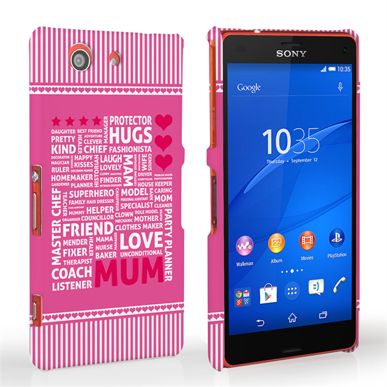 Caseflex Sony Xperia Z3 Compact Mum Word Collage Hard Case – Pink