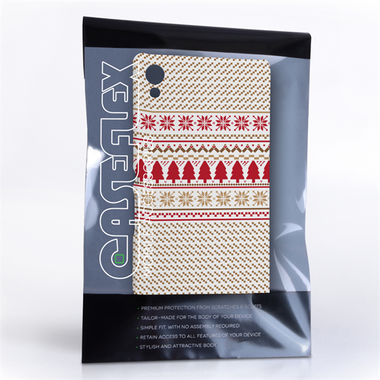 Caseflex Sony Xperia Z3+ Christmas Knitted Snowflake Jumper Hard Case - Brown / Red / White