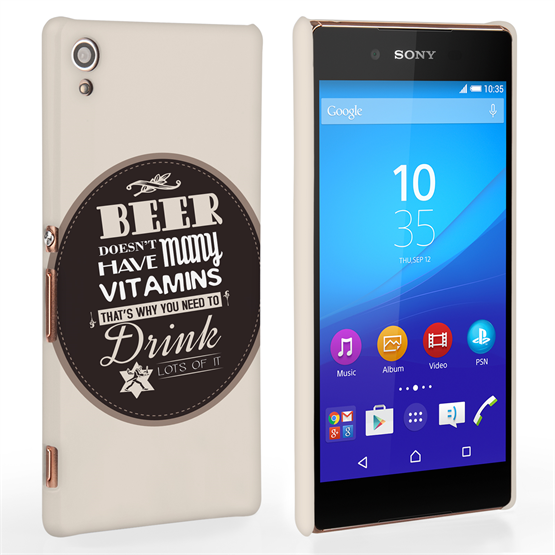 Caseflex Sony Xperia Z3+ Beer Label Quote Hard Case – Brown