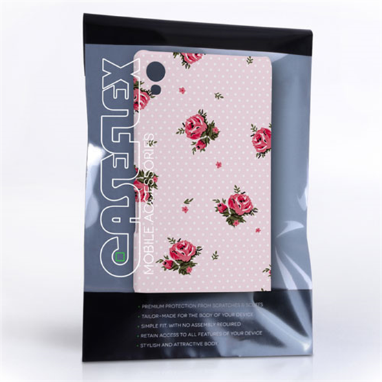 Caseflex Sony Xperia Z3 Plus Vintage Roses Polka Dot Wallpaper Hard Case – Pink