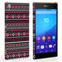 Caseflex Sony Xperia Z3+ Fairisle Case – Grey with Red Background