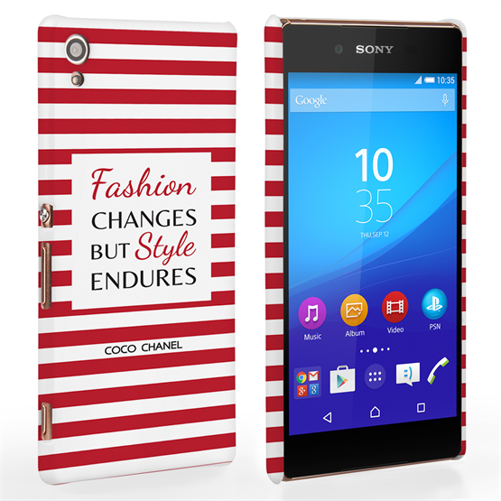 Caseflex Sony Xperia Z3 Plus Chanel 'Fashion Changes' Quote Case – Red and White