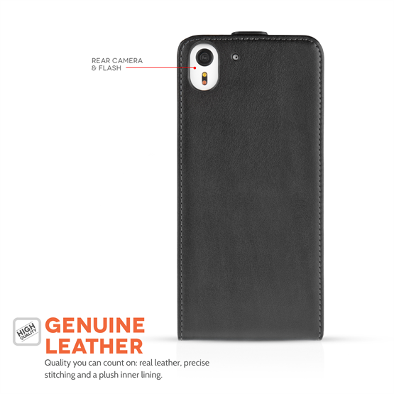 Caseflex HTC Desire EYE Real Leather Flip Case - Black