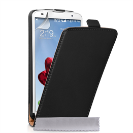 Caseflex LG G Pro 2 Real Leather Flip Case - Black