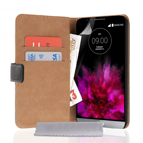 Caseflex LG G4 Real Leather Wallet Case - Black