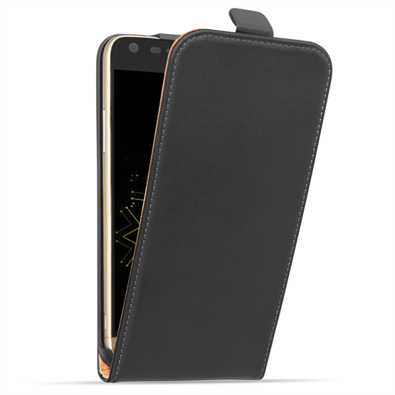 Caseflex LG G5 Case Real Leather Flip Case - Black