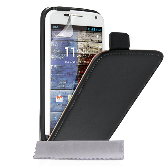Caseflex Motorola Moto X Real Leather Flip Case - Black