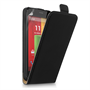 Caseflex Motorola Moto G Real Leather Flip Case - Black