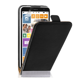 Caseflex Nokia Lumia 1320 Real Leather Flip Case - Black
