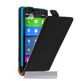 Caseflex Nokia XL Real Leather Flip Case - Black