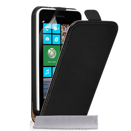 Caseflex Nokia Lumia 630 Real Leather Flip Case - Black
