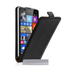 Caseflex Microsoft Lumia 535 Real Leather Flip Case - Black