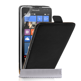 Caseflex Microsoft Lumia 532 Real Leather Flip Case - Black