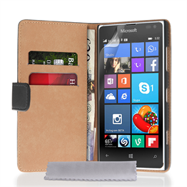 Caseflex Microsoft Lumia 532 Real Leather Wallet Case - Black