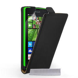 Caseflex Microsoft Lumia 435 Real Leather Flip Case - Black