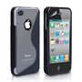 Caseflex iPhone 4 and 4s S-Line Gel Case - Black-Clear