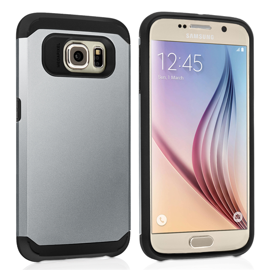 Caseflex Samsung Galaxy S6 Tough Armor - Satin Silver Case