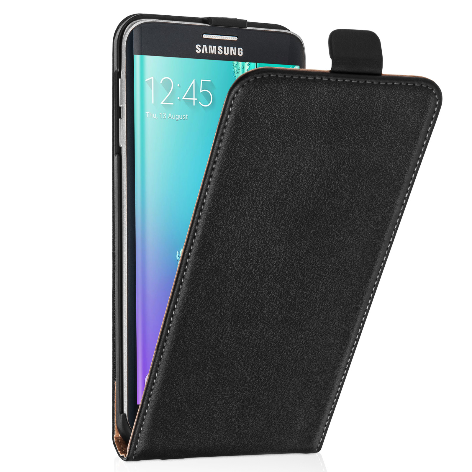 caseflex samsung galaxy s6 edge plus real leather flip. Black Bedroom Furniture Sets. Home Design Ideas