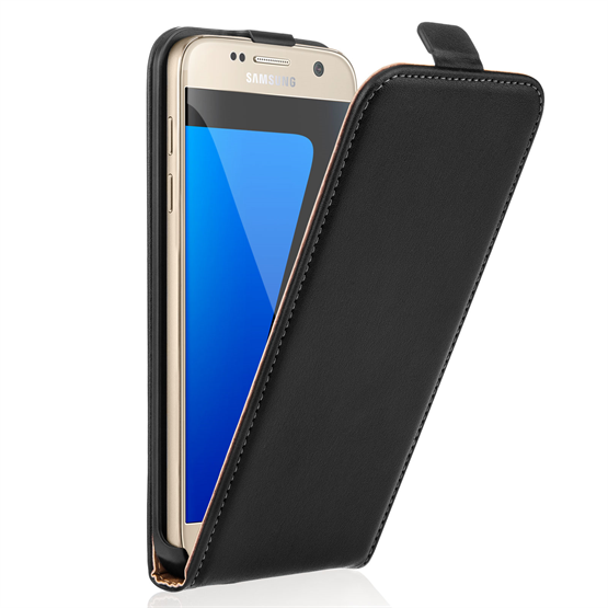 Caseflex Samsung Galaxy S7 Real Leather Flip Case - Black