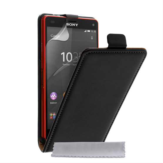 Caseflex Sony Xperia Z4 Compact Real Leather Flip Case - Black