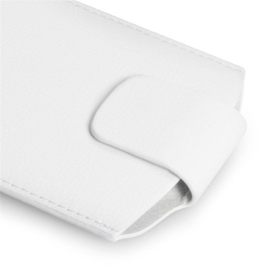 Caseflex Medium Textured Faux Leather Phone Pouch - White