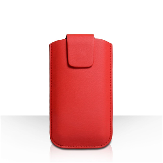 Caseflex Medium Textured Faux Leather Phone Pouch - Red